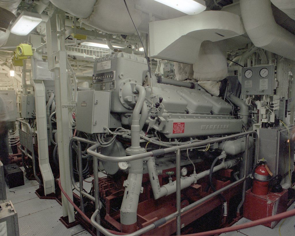 A view of the main machinery room aboard the mine countermeasures ship AVENGER (MCM-1). Construction on the ship is complete.