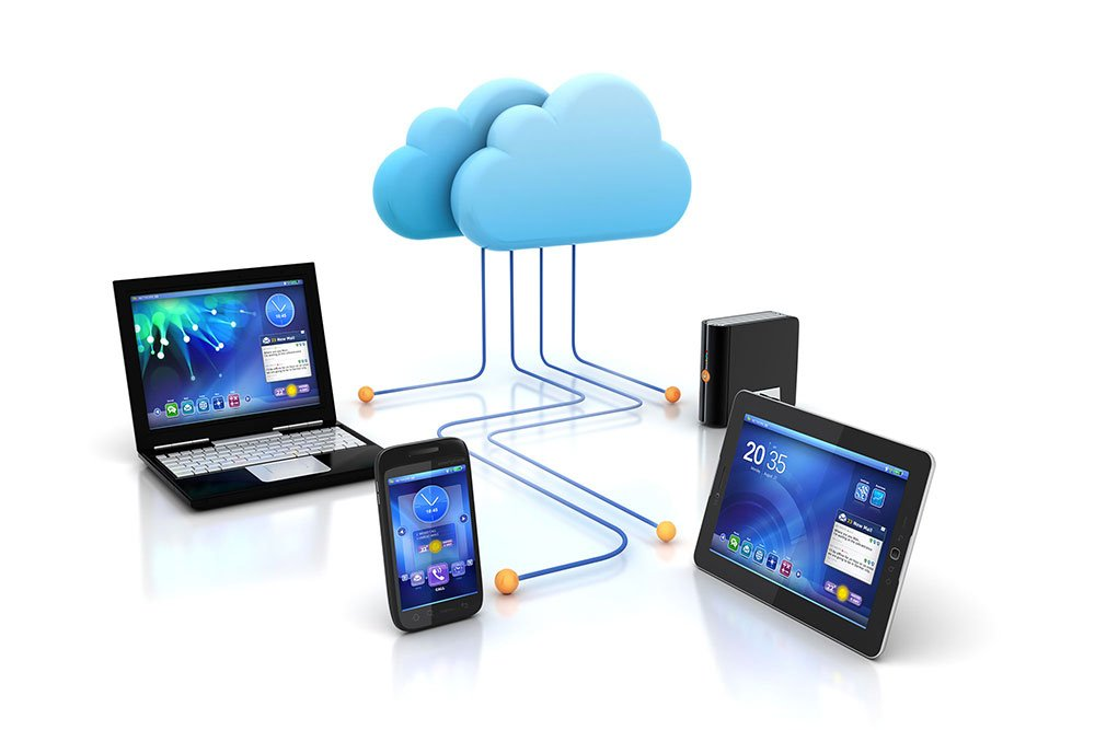 illustration of a cloud connected to 4 devices